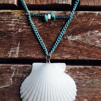 White seashell on a Teal Chain