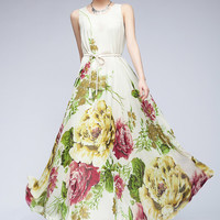 Women : Elegant printed chiffon maxi dress ghl2582