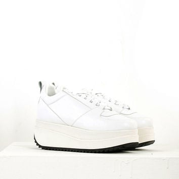 Leather Platform Sneaker in White