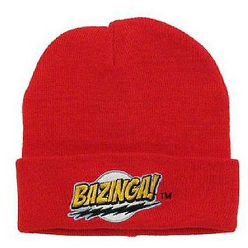 The Big Bang Theory Red Bazinga! Logo Beanie Knit Hat Officially licensed