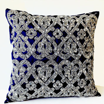 Navy Blue Geometric Throw Pillows Beaded -Silver Bead Pillow -Silk Pillow -Steel Cushion -16X16- Wedding Anniversary Engagement Hostess Gift