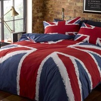 UNION JACK COTTON MIX USA QUEEN (230 X 220CM - UK KING SIZE) RED WHITE BLUE FLAGS FLAG DUVET QUILT COVER COMFORTER COVER **OFFICIAL LICENSED**