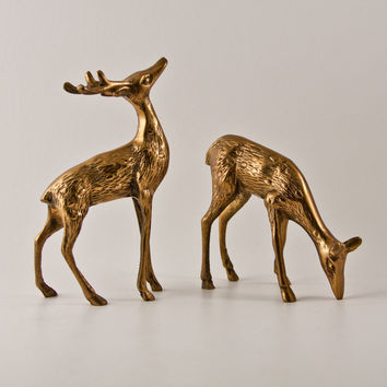 Deer Figurines Brass Vintage Pair Retro Home Decor