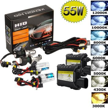 55W Hid Xenon Kit H1 H3 H4 H8 H7 H11 9005 9006 880/1 H13 Car light source 3000K 4300k 6000k 8000k 12000K Headlight Bulbs