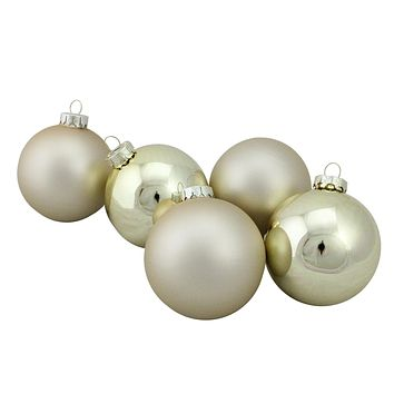 "6-Piece Shiny and Matte Gold Glass Ball Christmas Ornament Set 3.25"" (80mm)"