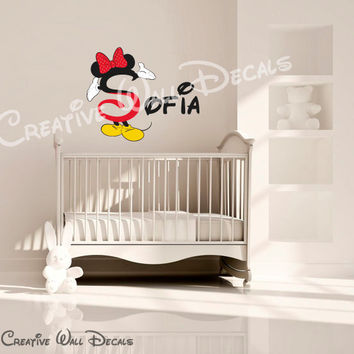 Full color Wall Decal Vinyl Sticker Decals Art Decor Design Disney Custom Baby Name Mice Bow Minnie Mouse Kid Children Nursery (rcol67)