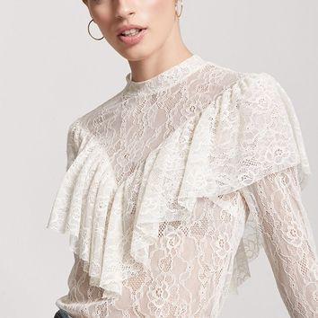Sheer Lace Flounce Top