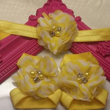 Yellow Chevron Chiffon Headband and Barefoot Sandal Set