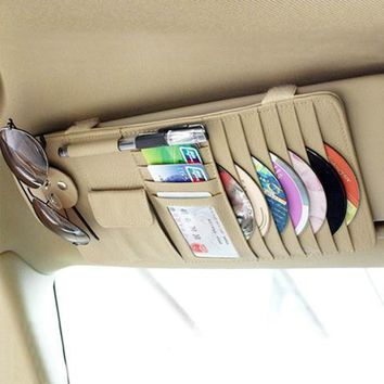 Free Shipping high-grade Sun Visor Storage Bag Car Notes Pouch CD Receive Bag DVD Disk Card Visor Case Folder Pocket