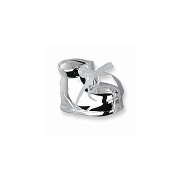 Interchangeable Ribbon Baby Bootie Silver-plated Polished Metal Bank