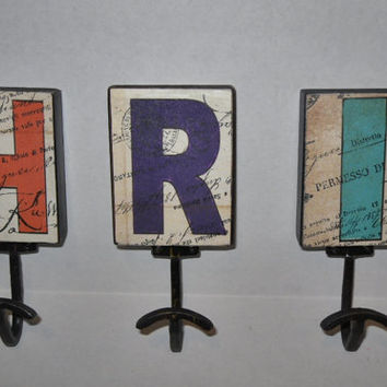 Letter Hook /Wall Hook / Your Choice Letter / Initials / Coat Hook / Kids Jacket Hook / Shabby Chic Decor