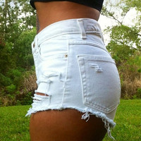 White Ripped Denim High Waist Shorts