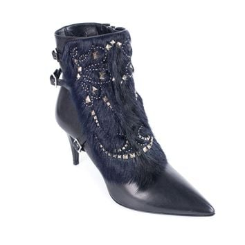 Roberto Cavalli Womens Black Ankle boots with Studs Fur