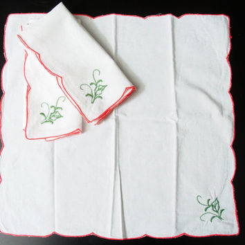Set of Three White Cotton Napkins with Red and Green Embroidery pretty for Holiday