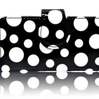iPhone 5 5S SE Black White Polka Dots leather Pouch Wallet Case