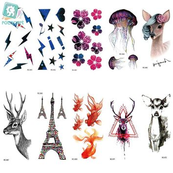 Rocooart RC51-83 Small Temporary Tattoo Stickers Body Art Jellyfish Deer Colorful Fake Flash Taty Tattoo Water Transfer tatuaje
