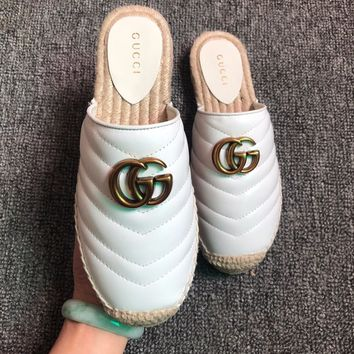 GUCCI 2019 new women's double Glogo straw fisherman shoes white