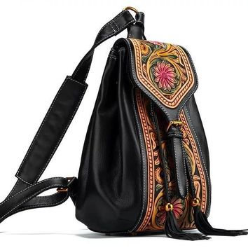 100% Craftsmanship Hand Carved Flower Designer Women's Tassel Backpack Genuine Cow Leather String Cover Girls Fringe Backpack