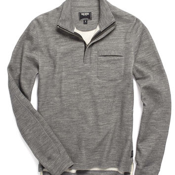 Wool-Cotton Half-Zip in Light Grey