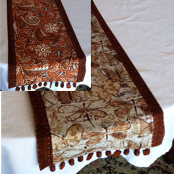 "Beaded Reversible Table Runner in Cinnamon and Neutral Tones -- Butterflies, Dragonflies, Paisley --  72"" x 10"" -- Customizable"