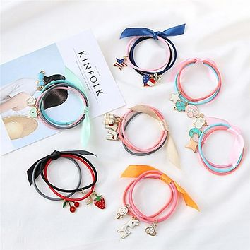 3Pcs Candy Color Hair Ties Scrunchies Kids Elastic Hair Bands Ribbon Bow Cat Pendant Children Rubber Bands Hair Accessories
