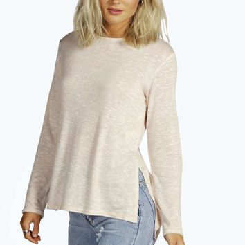 Tiffany Side Split Step Hem Jumper