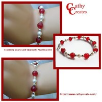 Cranberry Quartz and Swarovski Pearl Bracelet | cathycreates.net
