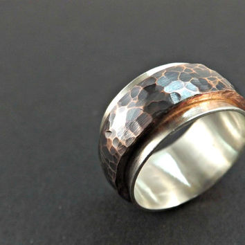 forged copper ring on wide silver ring band hammered ring very wide ring rustic wedding ring steampunk ring