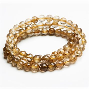 Women Femme Stretch 7mm Genuine Natural Brazilian Yellow Gold Hair Needle Titanium Rutilated Quartz Crystal Round Bead Bracelet