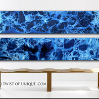 Extra large Minimalist Painting  / CUSTOM 2 Panel (75 Inches x 20 Inches) Large abstract art / Blue, indigo, white, Dark Ocean, deep sea,