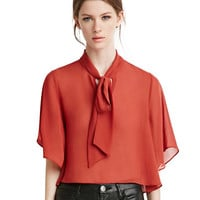 Plain Tie-Neck Short Sleeve Chiffon Blouse
