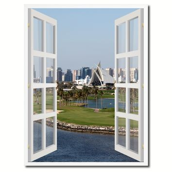 Dubai Creek Golf Course Picture French Window Canvas Print with Frame Gifts Home Decor Wall Art Collection