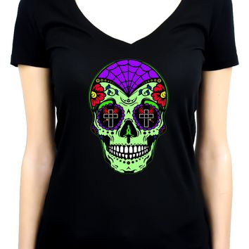 "Green Sugar Skull Calavera Women's V-neck Shirt Top ""Dia De Los Muertos"" Day of the Dead"