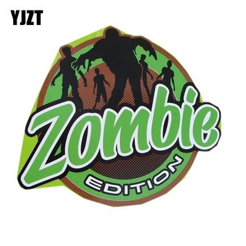 "YJZT 15.5x13.7CM Fashion Custom Badge Emblem Pair ""ZOMBIE EDITION"" Decal  Apocalypse Surviv Retro-reflective Car Sticker C1-8052"