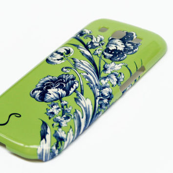 Personalized Floral Galaxy S3 Case, Flowers Galaxy S4 Cover, Monogram iPhone 5 / 5S, iPhone 4 Green and Blue