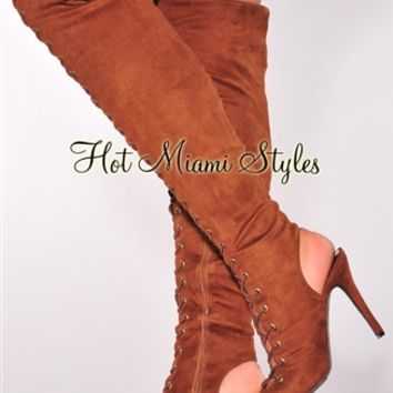 Tan Faux Suede Lace Up Knee High Heel Boots