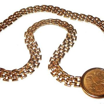 "Coin Medallion Choker Necklace Gold Metal Panther Links Signed L S 17.5"" Vintage"