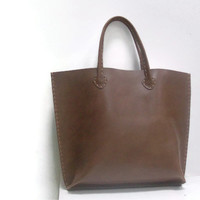 Tobacco,Tan,brown Leather Tote Bag Hand-sewn