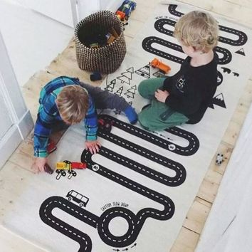 Kids Play Game Mat Rectangle Carpet Rugs Mat Cotton Car Road Crawling Blanket Floor Carpet For Kid Room Decoration INS Baby Gift