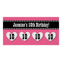 10th Birthday Pink Black Hearts Banner Custom V09 Posters