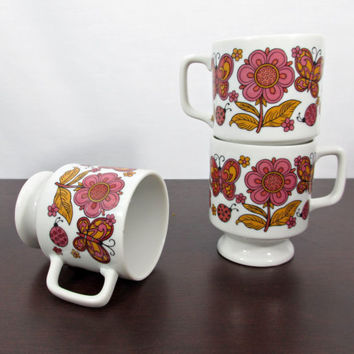 Retro Mugs w/ Flower Ladybug & Butterfly Motif  by ItchforKitsch