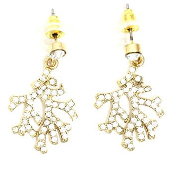 Crystal Coral Branch Dangle Stud Earrings Pave Gold Tone Sea Reef Charm EI04 Fashion Jewelry