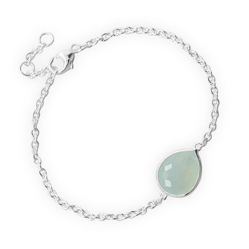 "7"" + .5"" + .5"" Freeform Faceted Synthetic Sea Green Chalcedony Bracelet"