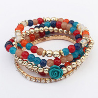 Bohemian Colorful Multilayer Beaded Bracelets&Bangles Flower Elastic Rubber Bands Bracelets for Women pulseras Ethnic Jewelry