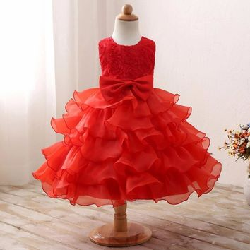 Nicoevaropa Toddler Girls Party Wear Costume For Children Summer Flower Princess Wedding Dress Girls Kids Prom Clothes