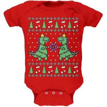CREYCY8 Tree Rex T Rex Ugly Christmas Sweater Soft Baby One Piece