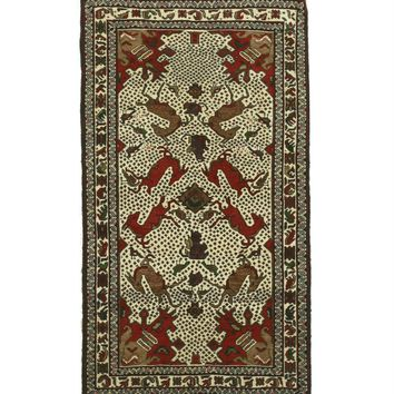EORC Hand-knotted Wool Ivory Traditional Geometric Baluchi Rug