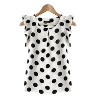 Women Polka Dot Feifei Sleeve Casual Blouse Short Sleeve Chiffon Summer Tops