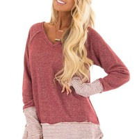 Wine Long Sleeve Top with Pinstripe Contrast and Thumbholes