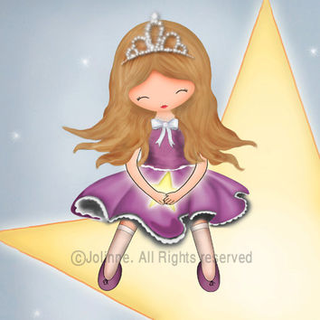 Princess wall art print , kids room decor , nursery wall art, children room art